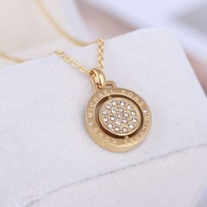 NEW Michael Kors Gold Circle Crystal Pave Necklace